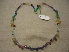 "Natural Multi Stone Multi Shape Faceted 17"" Beads Fancy Necklace, 58.5 Cts…"