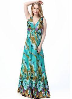 Umělé hedvábí Květinový Bez rukávů Maxi Sexy Šaty