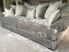 grey crushed velvet sofa - All I want in life is a crushed velvet sectional. Where can I find this! Sectional Sofa With Recliner, Sofa Couch, Settee Sofa, Wood Sofa, Couch Set, Curved Sectional, Couch Reupholstery, Sofa Slipcovers, Velvet Corner Sofa