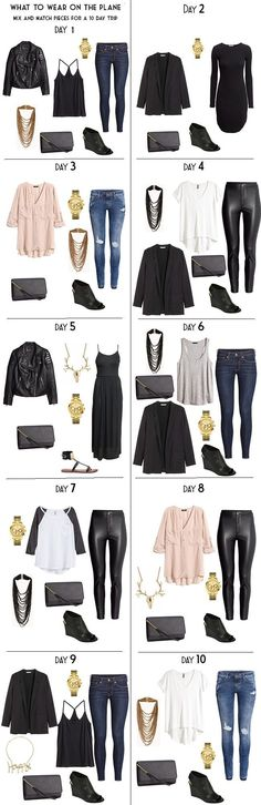 What to wear on the plane. 10 day packing list mix match