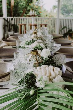 Glam Tropical Luxe Wedding Inspiration in Byron Bay with a colour palette of white, antique gold and green. The bridesmaid wears gold sequins by Spell Byron Bay. Wedding Table Centerpieces, Wedding Table Settings, Wedding Flower Arrangements, Flower Centerpieces, Wedding Flowers, Wedding Decorations, Centrepieces, Centerpiece Ideas, Floral Arrangements