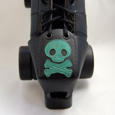 Leather Skate Toe Guards with Teal Skull and by derbyvixen on Etsy, $35.00