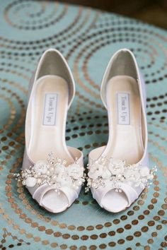 Handmade Wedding Shoes - Swarovski Crystals And Pearls - Choose From over 100 Shoe Colors - Short Wedding Heel Peep Toe Shoes For Wedding