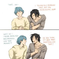 "kouaogotmarried: "" It was a little complicated…. (Every time I post, I want to apologize for my tablet handwriting which is literal poo… I'm sorry… "" Bl Games, Nitro Chiral, Dramatical Murder, Popular Anime, Cute Comics, Cute Anime Boy, Shounen Ai, Cute Anime Character, Cute Gay"