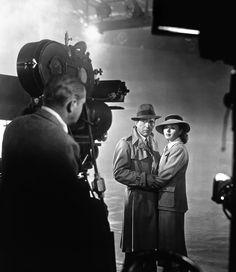 Michael Curtiz filming the immortal ending scene of 'Casablanca' featuring Humphrey Bogart and Ingrid Bergman.