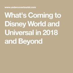 What's Coming to Disney World and Universal in 2018 and Beyond