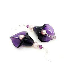 Purple Calla Lily Earrings Lampwork Earrings by BeadzandMore