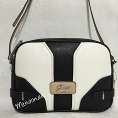 Guess Belvedere Colorblock Black Cream Taupe Cross Body Bag   Cross Body Bags on Sale at Tradesy