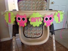 Owl theme first birthday I am one highchair by HandmadeByVee