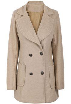 Abrigo de lana solapa bolsillos manga larga-Camello EUR€31.52