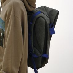 Featuring bright blue webbing straps and matching 'J' appliqué. Futuristic Design, Grey Fashion, World Of Fashion, Collaboration, Fashion Backpack, Gray Color, Bring It On, Bright, Stylish