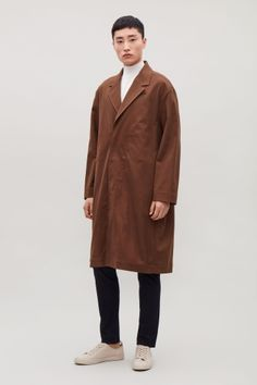 COS image 1 of Relaxed cotton-twill trench coat  in Light brown