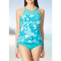 Beach House Aqua Going Coastal Racerback Tankini Swim Top - Women's ($46) ❤ liked on Polyvore featuring swimwear, bikinis, bikini tops, aqua, tankini swimwear, racerback bikini top, tankini tops swimwear, tropical print bikini and slimming tankinis