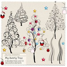 Digital Anemona: Christmas freebie five different Christmas trees Tangle Doodle, Tangle Art, Doodles Zentangles, Zen Doodle, Zentangle Patterns, Doodle Art, Christmas Doodles, Christmas Art, Christmas Tree Drawing
