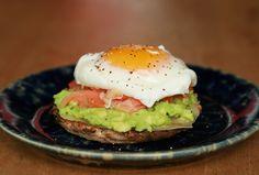 Poached Eggs, Avocado, & Smoked Salmon on English Muffins