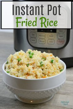Instant Pot Fried Rice is the perfect combination of broth, rice and veggies. Cook in the Instant Pot for only 3 minutes and then let sit for 10 more minutes. via @SidetrackSarah
