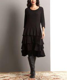 Look what I found on #zulily! Black Tiered Ruffle Hi-Low Dress #zulilyfinds