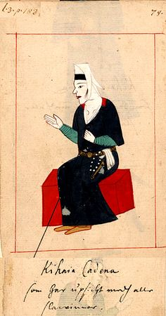 """Harem Superintendent  """"Kihaia Cadena som har upsicht medh alle slawinner"""" Kahya kadini,   responsible for discipline in the Harem. The 'Rålamb Costume Book' is a small volume containing 121 miniatures in Indian ink with gouache and some gilding, displaying Turkish officials, occupations and folk types. They were acquired in Constantinople in 1657-58 by Claes Rålamb who led a Swedish embassy to the Sublime Porte, and arrived in the Swedish Royal Library / Manuscript Department in 1886."""