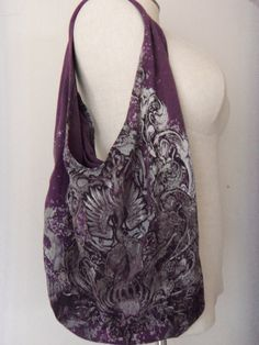"""Plum Purple Slouchy Hobo style """"Faithful"""" recycled T-shirt bag/Eco reuseable Shopping tote/Purse w/pocket & Gothic Graphics. $12.00, via Etsy."""