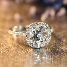 Halo Diamond White Topaz Engagement Ring in 14k by LaMoreDesign