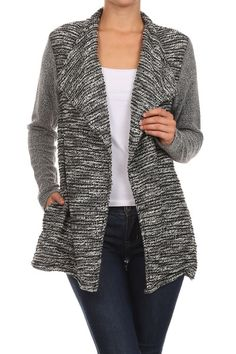 Love jackets like this (or at about hip length. Prefer them to be a little larger so I can layer underneath. (Knit Cardigan Jacket by Hem & Thread from enclothe)