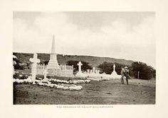 1908 Print War Memorials Waggon Hill Ladysmith South Africa Cemetary Boer XGKC1