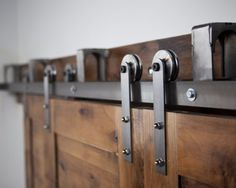 Amazon.com: Heavy Duty Bypass Barn Door Hardware System - 8 Ft Brushed Steel Finish Includes 4 Modern Style Hangers - Steel Rollers: Home Improvement