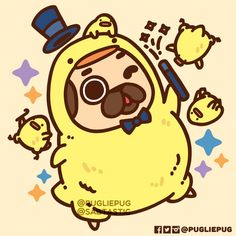 LET'S MAKE THIS THE YEAR OF THE ✨ RAZZLE DAZZLE ✨ Whether you began with a bang, or floated with the flow, may this year be full of positive experiences and grateful moments 💖 Inspired by 's amazing, happiness inducing Birdblobs! Pug Kawaii, Cute Kawaii Animals, Cute Animal Drawings Kawaii, Cute Funny Animals, Cute Drawings, Cute Dogs, Kawaii Doodles, Cute Doodles, Pug Wallpaper