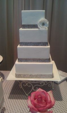 Square Bling Wedding Cake Tall Two