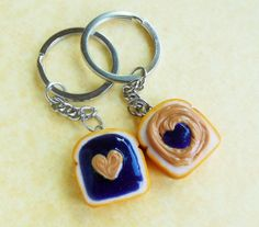 polymer clay hearts pb and j peanut butter and grape jelly best friend key chains bff kawaii on Wanelo