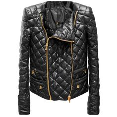 BALMAIN Quilted Jacket Zips ❤ liked on Polyvore