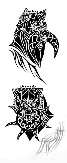 Hati and Sol tat design; sons of Fenrir