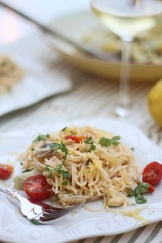 Creamy Lemon & Shrimp Pasta with Artichokes and Cherry Tomatoes - use Dreamfields low-carb pasta