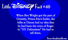Disney Fact >>thats harsh. 101 Dalmatians was amazing for its time and is still amazing today and Ben Wright is an amazing actor. And disney is known for recycling voice actors that are amazing. Disney Fun Facts, Disney Jokes, Funny Disney Memes, Disney Nerd, Cute Disney, Disney Cartoons, Disney Stuff, Disney Trivia, Princess Disney
