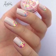 Unhas de Carnaval! Popular Nail Designs, Nail Polish Designs, Nail Art Designs, Nails Design, Polka Dot Nails, Nail Colors, Hair And Nails, Gelish Nails, Manicures