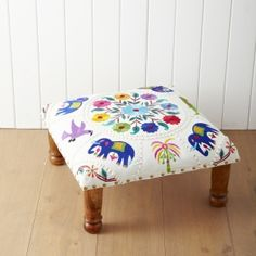 embroidered indian footstool