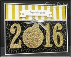 Large Number Framelits, Delicate Ornaments Thinlets, New Year's card, Stampin' Up!, #stampinup, created by Connie Babbert, www.inkspiredtreasures.com