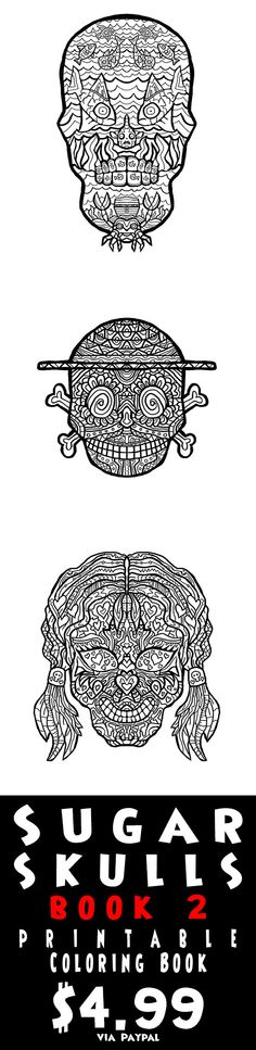 Print your own Complciated Coloring Sugar Skull Coloring pages. Great for Halloween decorations!! #dayofthedead #sugarskulls #coloring