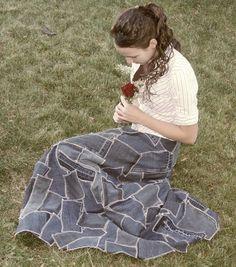 Patchwork Denim Skirt. floor length.