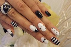 Girly black and white mani