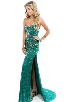 Fancy one sided cut prom dress