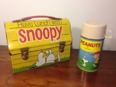 Snoopy Vintage Lunch Box  Thermos (Old 1968 Antique Metal Dome Lunchbox, Schulz, Peanuts, Charlie Brown)