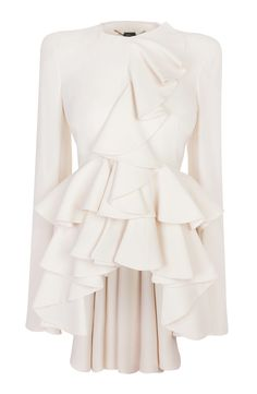 Ivory Wave Ruffle Jacket Alexander McQueen - Can I own this. Modest Fashion, Love Fashion, Womens Fashion, Fashion Design, Alexander Mcqueen, Trends 2018, Laura Ashley, Jackets For Women, Women Wear