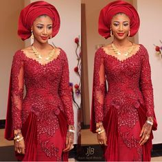 Wow! ❤️❤️❤️ bride Ummie was so graceful in her classic red dress, makeup by @joycejacob_jjb  #JJBbride #BellaNaijaWeddings