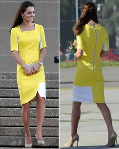Jumping on the latest trend, Kate hit the front pages when she landed in OZ in a canary yellow Roksanda Ilincic Ryedale dress. Description from ok.co.uk. I searched for this on bing.com/images