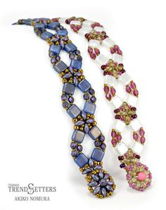 Flower Lattice Bracelet by TrendSetter Akiko Nomura | Ask your local bead store for this pattern which includes instructions for a beaded clasp!