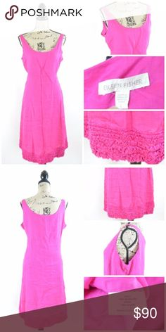"""Eileen Fisher Fuschia Pink Irish Linen Dress Large Gently used in good condition Eileen Fisher Fuchsia Pink Irish Linen Tank Sleeveless Dress   Due to the lighting the dress is brighter in photos.  Size Large  Armpit to Armpit: 22"""" Length: 43.75"""" Waist: 40"""" Eileen Fisher Dresses"""