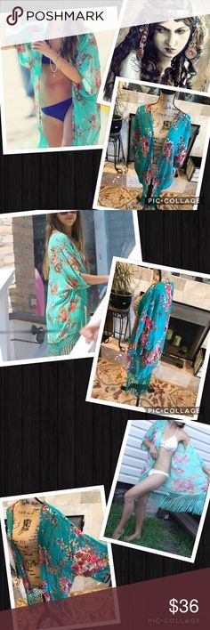 Romantic kimono Lush colors... fringed base. Oversized, slouchy cut. Sheer side, great with jeans or the beach! Very Art Deco era inspired! Kimono, cover up.  Would suggest up to an extra large. My Brand Boutique. Brands that are similar to: urban outfitter, anthropologie, free people, nasty gal, reformation, Zara, april spirit, rag & bone, for Love & Lemons, Tigerlily, Spell and the Gypsy Collective, Stone Cold Fox, The 2 Bandits gypsi Tops