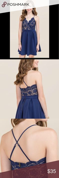 Francesca's maliyah lace a line dress in navy. Only worn once! Francesca's maliyah lace a line dress navy. In great condition. Adjustable straps. Francesca's Collections Dresses Prom