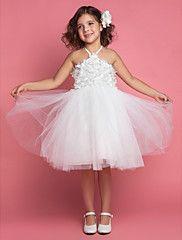 Ball Gown Halter Tea-length Tulle Flower Girl D... – USD $ 19.99